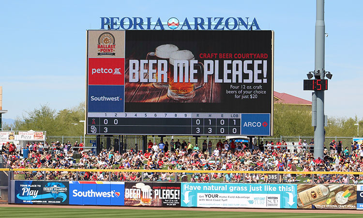 Peoria Sports Complex has the largest scoreboard in the Cactus League