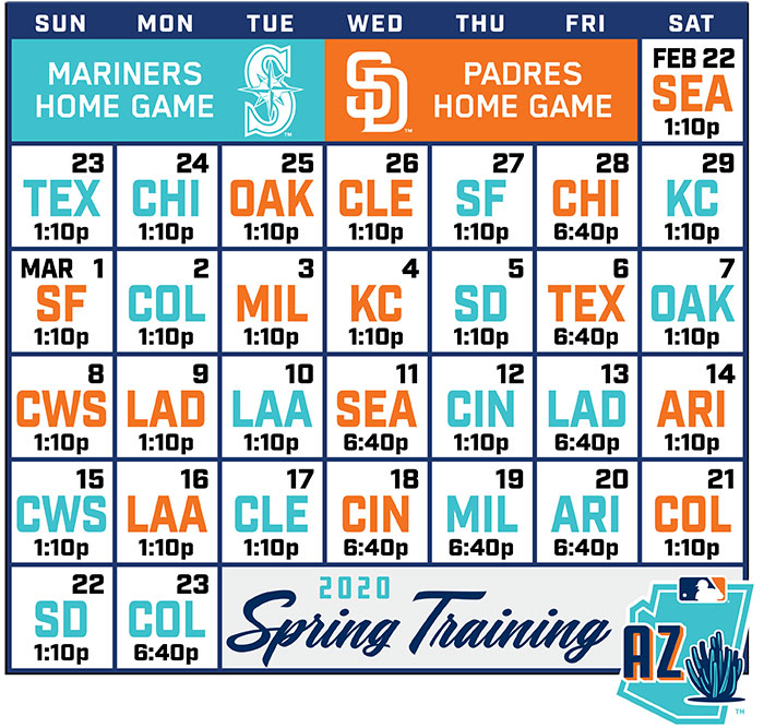 Padres Home Schedule 2020.Game Schedule Peoria Sports Complex